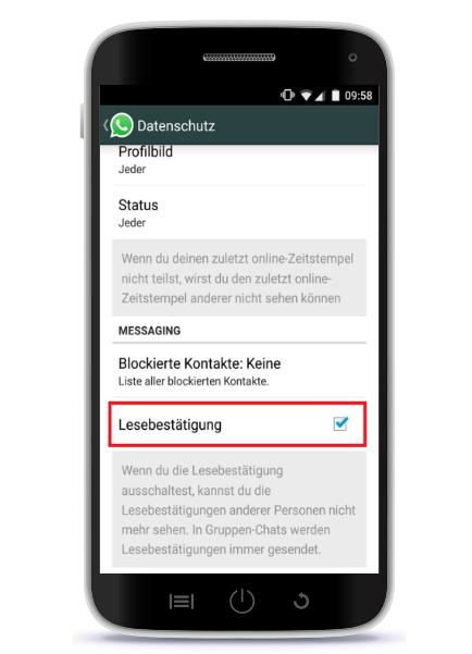 WhatsApp blaue Haken deaktivieren android
