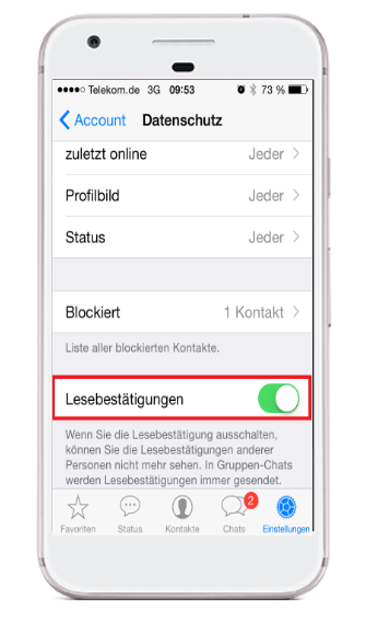 WhatsApp blaue Haken iphone